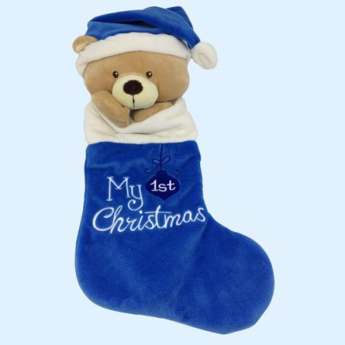 Baby's My First Christmas - Stocking Blue