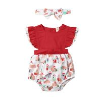 Aussie  Christmas Baby Romper with Frill Sleeve and Headband