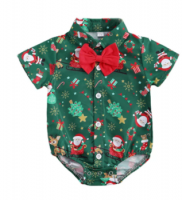 Baby Christmas Shirt Romper with Bow Tie - Green