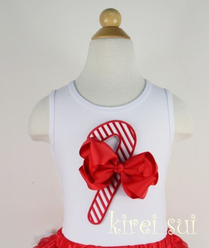 Candy Cane Singlet/Tanktop with Bow Christmas Outfit (only 5-7 years left)