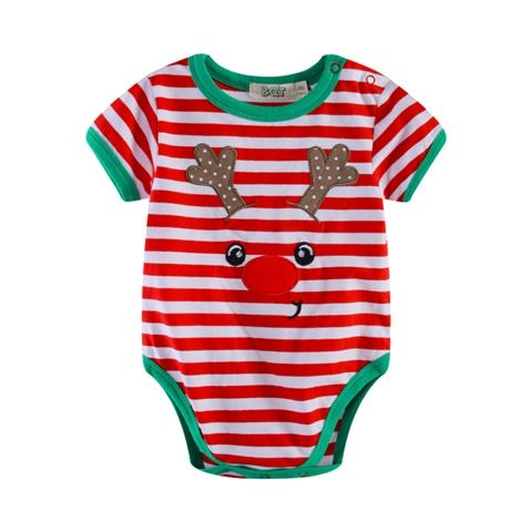 Stripey Reindeer Bodysuit Baby Christmas Outfit (Sizes 000 to 1)
