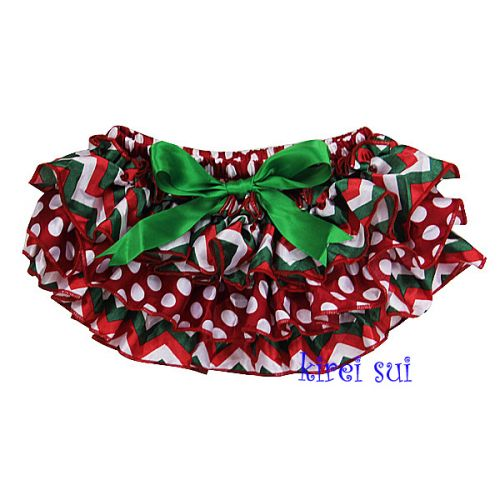 Christmas Chevron Frilly Satin Nappy Cover
