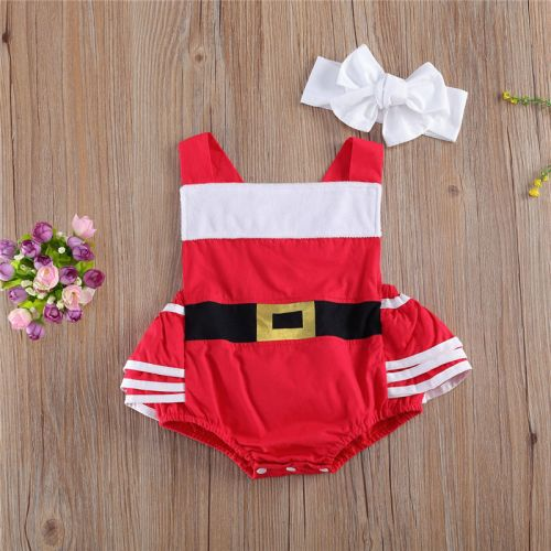 Santa Shortall Romper with Frills Baby Christmas Outfit -