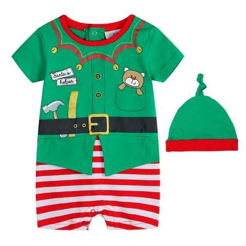 Elf Romper Set-Santa's Helper- Baby Christmas Outfit (Teddy print in pocket) (Size 00 only)