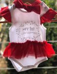 My First Christmas - Skirted Bodysuit & Headband - Baby Christmas Outfit