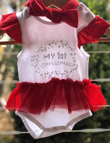 Christmas Tutu Outfits.My First Christmas Skirted Bodysuit Headband Baby Christmas Outfit