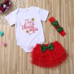 My First Christmas Half Tutu Set with Sparkly Bow and Headband