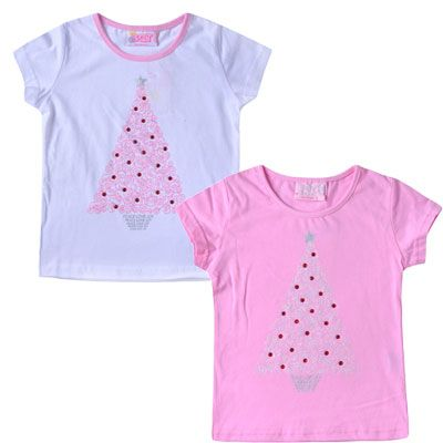 Gorgeous White and Pink Christmas Tree Tee (Sizes 0 to 7)