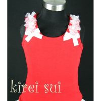 Red with White Shoulder Ruffle - Christmas Singlet/Tanktop (Last one 5-7 years)