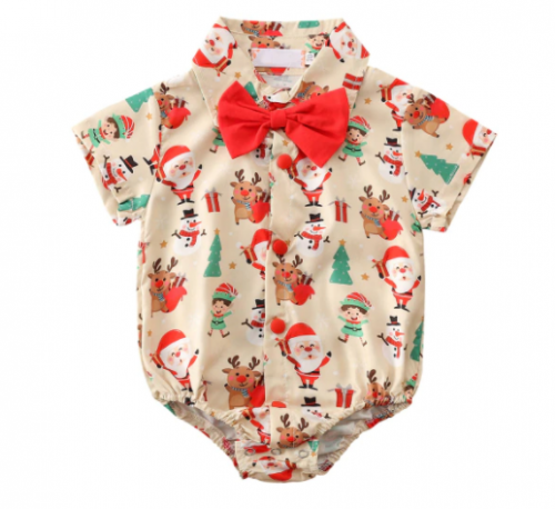 Baby Santa Shirt Romper with Red Bow Tie - Beige