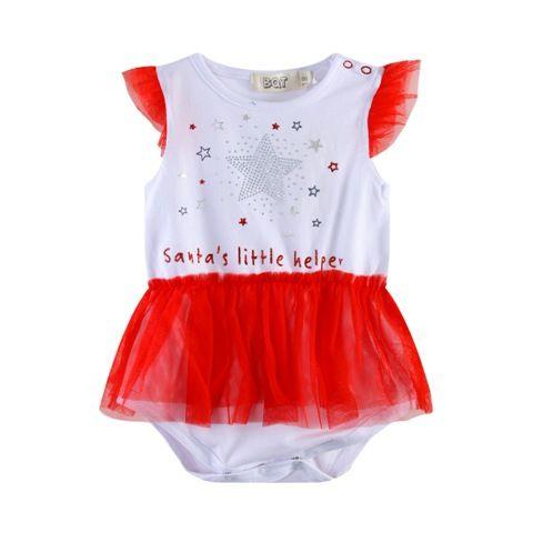 Santa's Little Helper- Bodysuit/Onsie W/skirt - Baby Christmas Outfit