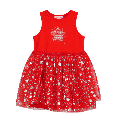 Sparkly Red & Silver Star Tutu Dress (Only Size 2 left )