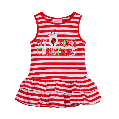 1937eca2c3e54 My First Christmas Striped Dress| Baby Girls Christmas Outfits | Not ...