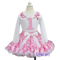First Birthday No 1 Pink Polkadot Tutu and Longsleeve Top Set