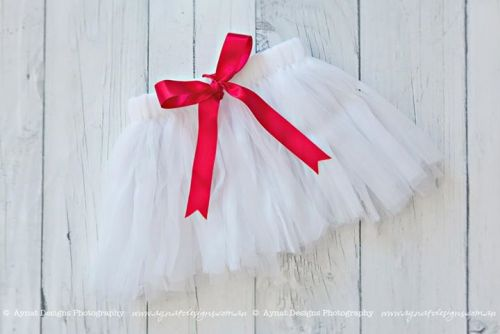 Soft White Tutu with Red Bow (Size 1-2)