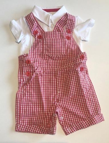 Red Checked - Overalls - Baby Christmas Outfit -