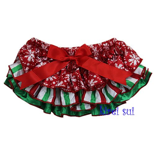 Christmas Baby Red Snow Green White Satin Ruffles Bloomers/Nappy Cover