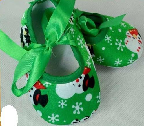 Snowman Christmas Baby Shoes - Green