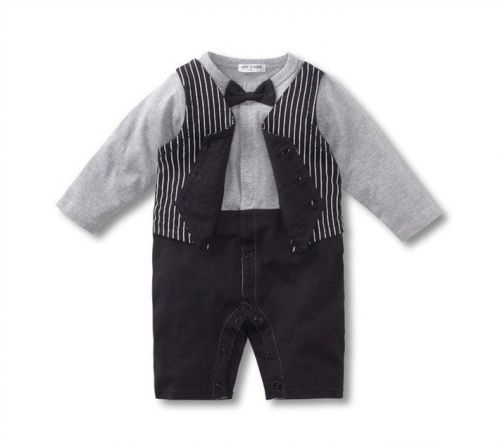 Baby Vest Suit with Bow Tie - Tux Bodysuit/Romper (only 18-24mths left)