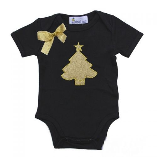 Stunning Black & Gold Christmas Tree Bodysuit