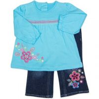 Flower Jeans and Top Set (000 to 1) by Candy Stripes