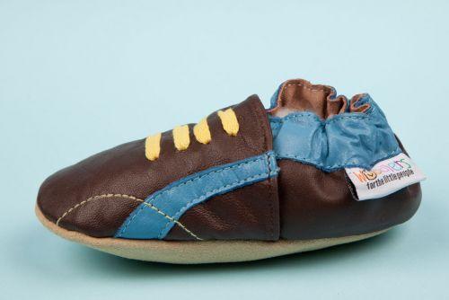 Woddlers Soft Sole Shoe - Chocolate Blue Kicks