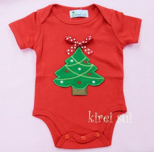 Red Christmas Tree Bodysuit - Baby Christmas Outfit (0-6 months)