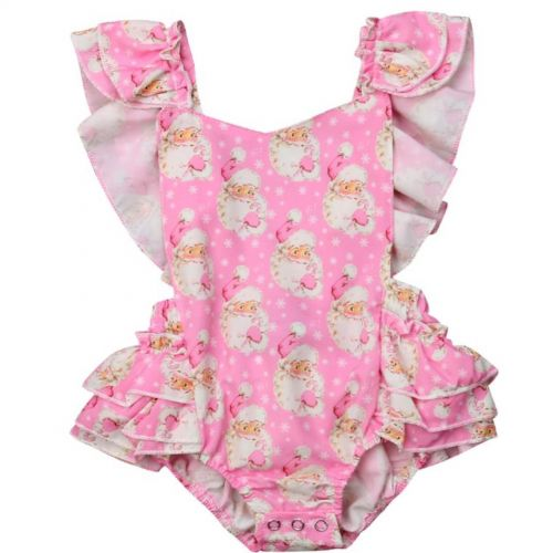 Pink Santa Frilly Christmas Romper