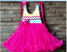 Rainbow Chevron Top Tutu Dress-Hot Pink Tulle