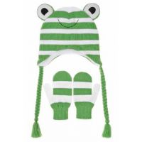 Fancy Frog Beanie/Hat and Mittens Set
