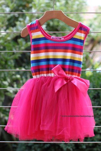 Rainbow Stripe Top Tutu Dress-Hot Pink Tulle