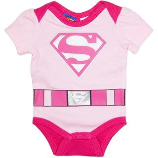 Pink SuperBaby Super Girl Short sleeve Bodysuit (Size 1 last one left)