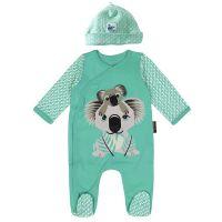 Organic Cotton - Mibo Koala Pyjamas with hat (Size 9 to 12 months)
