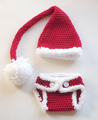 Crochet Christmas Santa Nappy Cover and Hat