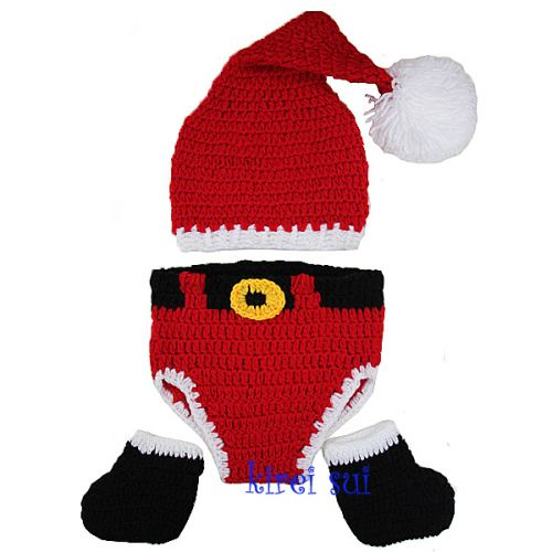 Crochet Santa Outfit Nappy Cover, Hat & Booties