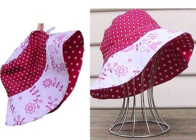 Reversible Adjustable Sun Hat - Pink & White Bird/Hot Pink Spot