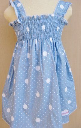 Dress - Blue Spot  by Frilly Tushies (Size 0 & 1)