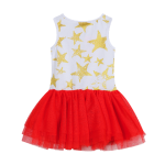 Red, White with Gold Stars Tutu Dress
