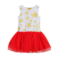 Red, White and Gold Stars Tutu Dress