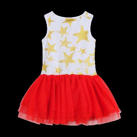 Red, White with Gold Stars Tutu Dress
