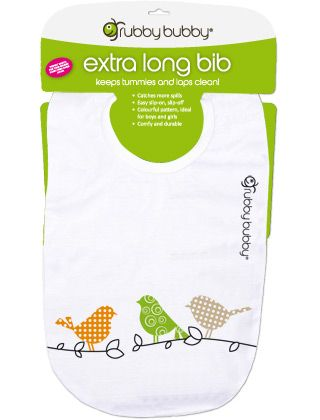 Grubby Bubby Extra Long Bib - Birds - Orange, Lime, Stone