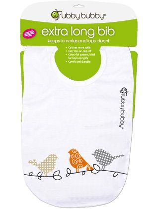 Grubby Bubby Extra Long Bib - Birds - Stone, Orange, Grey
