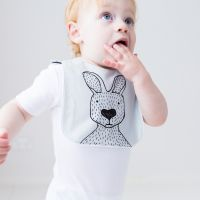 Joey Jelly Bean - Kevin the Kangaroo Bib - Grey