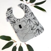 Joey Jelly Bean Bib - Koala Gum Nuts & Leaves - Grey