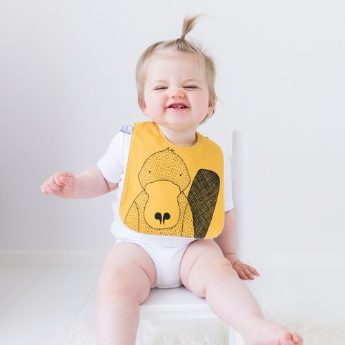 Joey Jelly Bean - Polly the Platypus Bib - Mustard