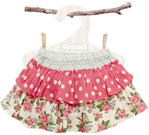 Love Henry Rose Frilly Pilcher Skirt (Sizes 0 to 2)