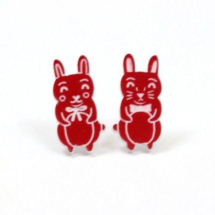 Red Rabbit Earrings