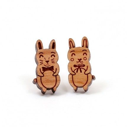 Wooden Rabbit Earrings