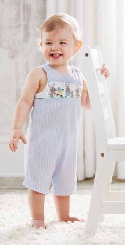 Mud Pie -Smocked Shortall - Easter Bunnies - (only 9-12mths left)