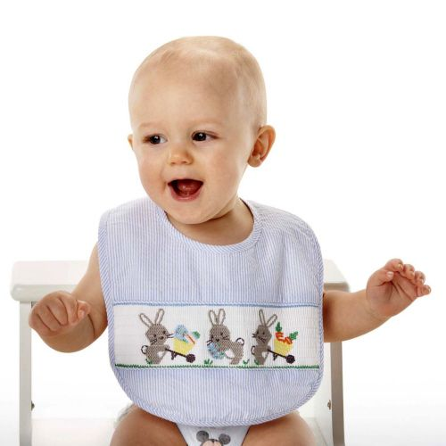 Mud Pie -Blue Smocked Bib - Easter Bunnies